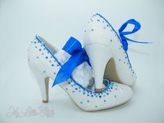 White iridescent glitter and Royal Blue rhinestone satin ribbon mid heels Bridal something blue mother of the bride mother of the groom hen Bridal Heels, Wedding Heels, Bling Heels, 3 Inch Heels, White Glitter, Blue Satin, Something Blue, Court Shoes, Mother Of The Bride