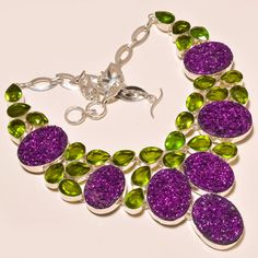 """.925 Silver Titanium Druzy With Faceted Peridot Sparkling Necklace 18"""" #Handmade"""