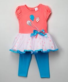 Look what I found on #zulily! Pink & Turquoise Party Tunic & Leggings - Infant #zulilyfinds