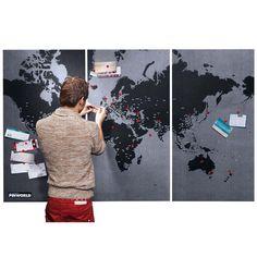 3 teilige Filz Pinnwand Memoboard Weltkarte mit 90 Pins in Dunkelgrau / Schwarz