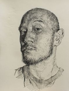 "Artist: Sam Kim; Pen and Ink 2012 Drawing ""selfportrait"""