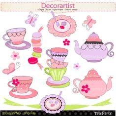French tea party digital clip art , tea party , french style, paris. INSTANT DOWNLOAD