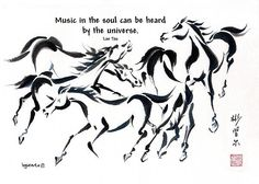 Spontaneous (Xie Yi) style Chinese brush painting with Lao Tzu quote by bgsearle Lao Tzu Quotes, Me Quotes, Chinese Brush, Gesture Drawing, Ink Illustrations, Laos, Instagram Images, Fine Art, Horses