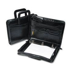 Bond Street Leather Multi-Ring Zippered Portfolio, Capacity, x Black Important Documents, Portfolio Book, Bond Street, Ring Binder, Briefcase, Book Design, Everyday Fashion, Business Cards, All In One