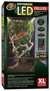 The ReptiBreeze LED Deluxe Cage by Zoo Med Laboratories is an open-air, black, rust-resistant aluminum screen cage features a full acrylic front door for optimum viewing. It includes built-in, touch-activated LEDs in the top panel with three optional settings. Has a slide-out tray for easy cleaning. Perfect for arboreal lizards, including chameleons and anoles. Comes in two sizes.  www.zoomed.com