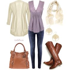 """Cute Spring Outfit"" by natihasi on Polyvore ~ would prefer high heel boots but cute!!"