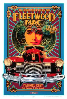 Rare Mini Print/Poster - Size: A4 (Approximately: 21 cm x 29.7 cm) 8.27 inches x 11.7 inches. Fillmore East, Bill Graham, 2nd Avenue, Fleetwood Mac, Concert Posters, Poster Prints, The Unit, Mini, Gig Poster