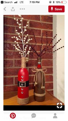 DIY Christmas decorations craft ideas with wine bottles, reindeer decorations tinker with children . - DIY Christmas decorations craft ideas with wine bottles, reindeer decorations tinker with children - Wine Bottle Vases, Wine Bottle Crafts, Bottle Art, Bottle Labels, Wine Decanter, Medicine Bottle Crafts, Beer Bottles, Christmas Projects, Holiday Crafts