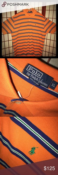 NWT RALPH LAUREN POLO SHORT SLEEVE W COLLAR XL NWT BRAND NEW TAGS STILL ATTACHED RALPH LAUREN POLO SHORT SLEEVE W COLLAR XL   ORANGE. ROYAL BLUE. HUNTER GREEN. CREAMY OFF WHITE. ASK ANY ?? See pix for Refernces plz Ralph Lauren Blue Label Shirts Polos