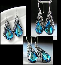 Peacock Blue Earrings Sterling Silver Swarovski by DorotaJewelry, $38.00
