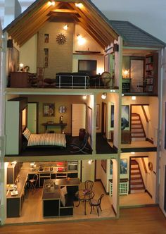 DIY Girls Bedroom Decor Ideas & Fun Projects – Dollhouses – Back to School Crafts – Grandcrafter – DIY Christmas Ideas ♥ Homes Decoration Ideas Sims House Plans, Doll House Plans, Tiny House Design, Modern House Design, Casas The Sims 4, Diy Dollhouse, Miniature Dollhouse, Miniature Houses, House Layouts