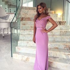 Floor Length Lilac Off-the-Shoulder Formal Dress Evening Gown