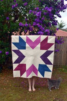 "Beautiful ""Berry Orchid"" quilt by Kirsten of Gemini Stitches, made using the Giant Starburst pattern from Megan Bohr of Canoe Ridge Creations. Free patten available from Megan's QAL here:  http://www.canoeridgecreations.com/2013/10/giant-starburst-quilt-along.html"