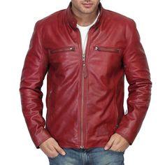 Bareskin red colour genuine leather moto jacket for men Leather Men, Red Leather, Biker Leather, Leather Jackets Online, Mens Gloves, Leather Accessories, Moto Jacket, Mens Fashion, Stylish