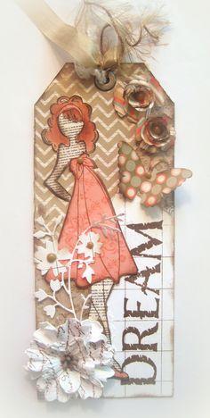 Tag, Book Marker, Julie Nutting Doll, Friendship Tag, Friendship Bookmarker, Prima Doll Stamp