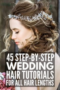 45 Wedding Hairstyles for All Hair Lengths | Whether you're looking for wedding updo ideas for short, medium length, or for long hair, we've curated 45 ideas to inspire you! From a simple half up half down with flowers, to boho styles with braids, to a classic chignon and more, we've found DIY styles for every face shape and hair type – straight, wavy, curly, with bangs, thin, thick, and beyond! Romantic Bridal Updos, Romantic Hairstyles, Up Hairstyles, Straight Hairstyles, Braided Hairstyles, Hair Tutorials For Medium Hair, Curly Hair Styles, Natural Hair Styles, Short Choppy Hair