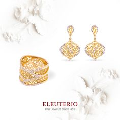 DIVA collection Ring and earrings in yellow gold ans diamonds golden filigree Gold N, Diamond Design, Portuguese, Luxury Branding, Diamond Jewelry, Portugal, Diva, Crochet Earrings, Diamonds