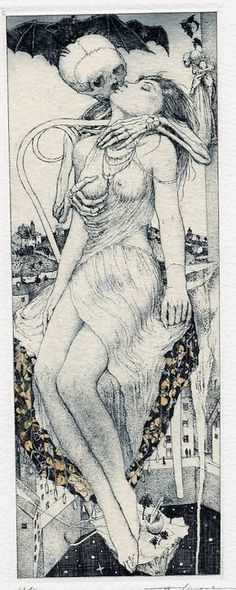 """Artworks by Alphonse Inoue (pseudonym of a Japanese artist, known for his erotic ex libris). I choose those that deal with the macabre motif """"Death and the Maiden"""". Ex Libris, Memento Mori, La Danse Macabre, Dance Of Death, Arte Obscura, Drawn Art, Vanitas, Grim Reaper, Skull Art"""