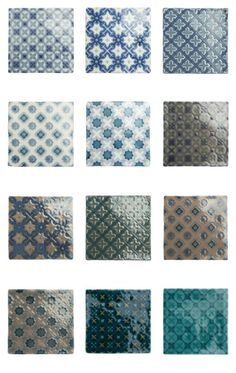 'Chateaux' collection from The Winchester Tile Company - the more green ones of these might work well behind cooker?
