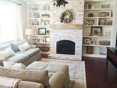 Home Remodel Rustic Farmhouse brick fireplace built ins 39 Best Ideas.Home Remodel Rustic Farmhouse brick fireplace built ins 39 Best Ideas Fireplace Bookshelves, Fireplace Built Ins, Home Fireplace, Living Room With Fireplace, Fireplace Design, Home Living Room, Living Room Designs, Fireplace Ideas, Farmhouse Fireplace