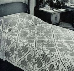 Quick Work Bedspread | Crochet Patterns -- This is one classic, old pattern that looks easy enough for me to do.