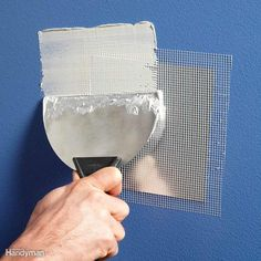 Instant Patch - Every fix-it guy we know—DIYer or pro—loves selfstick metal patches. Just stick one over the hole and mud over it. How To Patch Drywall, Drywall Repair, Patching Drywall, Plaster Repair, Drywall Finishing, Home Improvement Projects, Home Projects, Home Renovation, Home Remodeling