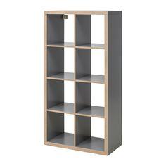 KALLAX Polcos elem - szürke/fa hat. - IKEA