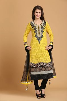 Yellow Net Churidar with Full Sleeve Kameez and Black dupatta with price $107.83. Comes with U Neck Kameez and Embellished with Embroidered, Resham, Zari, Zircon work. This design is perfect for Party, Wedding, Festival, Ceremonial.  http://www.andaazfashion.us/salwar-kameez/churidar-suits/fabric/cotton-churidar-suits