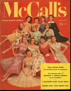 McCall's April 1955   Eleven Busiest Models   Suzy Parker, Dorian Leigh, Jean Patchett, Patsy Shally, Lillian Marcuson, Nan Rees, Leonie Vernet, Georgia Hamilton, Dolores Hawkins, Kathy Dennis, and Mary Jane Russell.