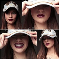 Beautyful girl with basecap and dark berry lips