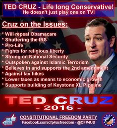 We Endorse Ted Cruz for President of the United States of America! ‪#‎TedCruz2016‬ ‪#‎TeaParty‬ ‪#‎Patriots‬