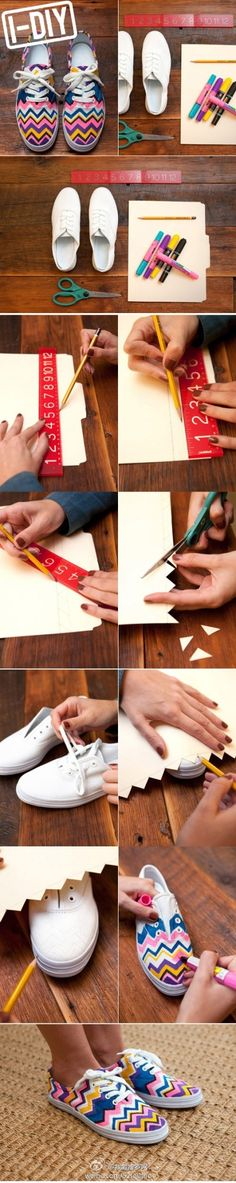 Cheveron shoes How to #DIY