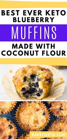 The post popular breakfast keto treat recipe I've ever shared! Low carb blueberry muffins made with coconut flour. Perfect for breakfast on the go or even a summer blueberry keto treat! Low Carb Blueberry Muffin Recipe, Homemade Blueberry Muffins, Blueberry Recipes, Coconut Flour Muffins Blueberry, Low Sugar Recipes, Healthy Low Carb Recipes, Coconut Recipes, Keto Recipes, Sugar Foods