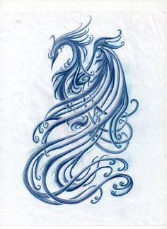 blue phoenix tattoo - unedited by ~bellaknoti on deviantART