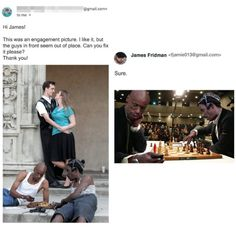 When you ask James Fridman for help you're going to get played with. Photoshop is a powerful tool; The internet is also a powerful tool, but most people who own photoshop and love the internet are gonna be troll. Here is such troll. Funny Photoshop Fails, Funny Photoshop Pictures, Photoshop Pro, Funny Images, Funny Pictures, James Fridman, Perfect Man, Funny Posts, Jokes