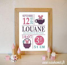 Cadeau naissance, stats de naissance, décoration chambre bébé fille - Fichier Imprimable - n°51 souris : Chambre d'enfant, de bébé par cashemir