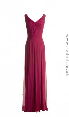 Fall in love with this #burgundy #v-neck #long #bridesmaid #dress / RBD084 / £75