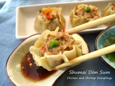 Shumai - Chicken and Shrimp Dumplings (Makes about 40 dumplings) : : : The shumai are best eaten hot... and since the batch makes quite a few, you can opt to divide the meat filling and make a batch one day and the second batch another day. You can also cut the recipe in half or freeze some.
