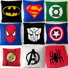 9 inch by 9 inch Superhero cushion .Pick your design:Avengers, Batman, Superman, Captain America,Green Lantern, Spiderman,Transformers. £8.00, via Etsy.