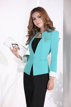2013 Autumn&Winter New Fashion Fashion Elegant Black/Blue 2 Piece Slim Professional Women Business Pant Suit Set,Plus Size XXXL!-in Blazer &...
