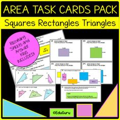 Area of Squares Rectangles and Triangles Task Card Pack Secondary Math, Cooperative Learning, Student Engagement, Common Core Standards, Activity Centers, Task Cards, Teacher Resources, Maths, Packing