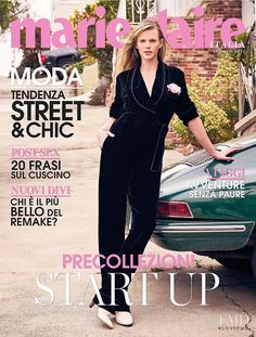 Anne Vyalitsyna featured on the Marie Claire Italy cover from August 2016