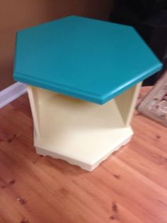 Hexagon-Side-End-Table-Upcycled-Repurposed-Dog-Bed-Handpainted