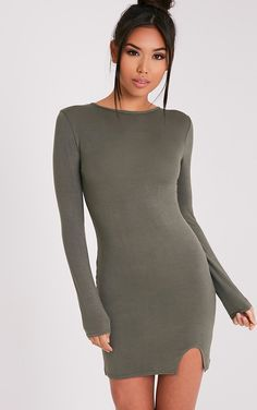 Katiya Khaki Long Sleeve Split Front Bodycon Dress