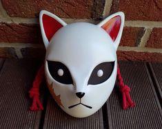 Kimetsu no Yaiba Sabito's Mask / Kitsune Fox Mask for cosplay or as a wallhanger with adjustable str Zorro Tattoo, Kitsune Maske, Cosplay, Japanese Fox Mask, Le Clan, Cultural Significance, Masks Art, Demon Slayer, Mask Design