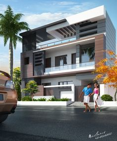 Modern Bungalow Exterior, Modern House Facades, Modern Bungalow House, Modern Architecture House, House Outer Design, House Outside Design, House Front Design, Small House Design, 3 Storey House Design