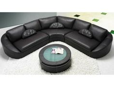 TH410 Leather Sectional Sofa w/Coffee Table - Modern Sectional Sofa, Modern Leather Sectional Sofa - Living