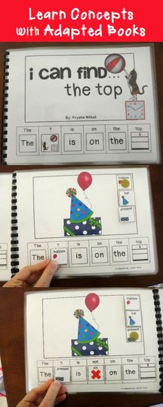 Learn concepts with adapted books. What is/ what is not the top. Fun, interactive, learning. Speech Therapy