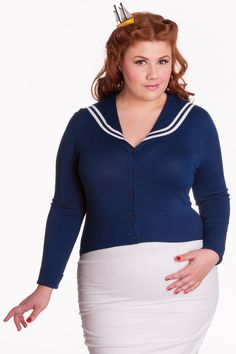 Hell Bunny Plus Size A-hoy Pinup Nautical Sailor Collar Prep School Cardigan