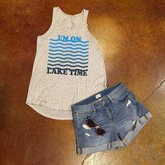 Always on lake time  Tank ($28), short ($45). #frankieandjules #laketime #lakelife #onlaketime #boat #lakeoftheozarks #lakechick #shorts #breezy #casual #sunbathe #layout #deck #drinks #beer #cocktails #weekender #waves #summertime #hurryupsummer #hurryin